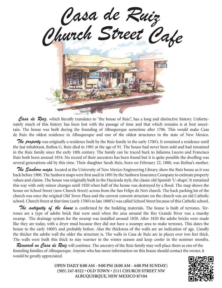 Church Street Cafe Menu first page